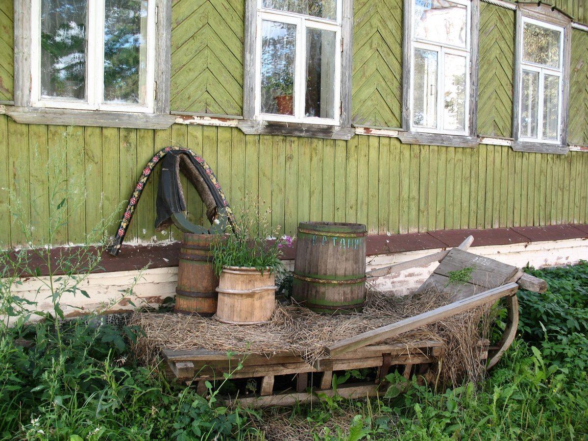 Alte Hauswand in grün mit altem Holzschlittem im Gras